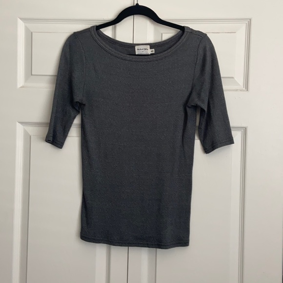 Michael Stars Boatneck Shimmer 3/4 Sleeve Top XS/S